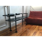 Image of Memphis Style Leather and Steel Bench by Polflex Italia for Cy Mann Designs Nyc, 1985.