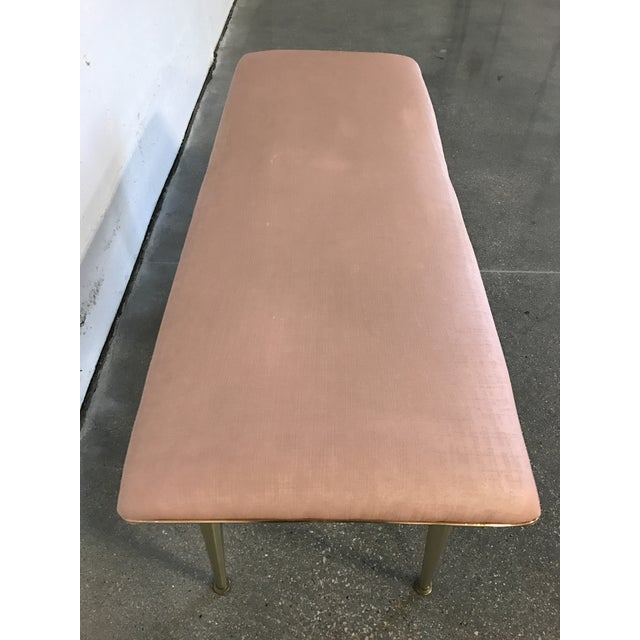 Mid-Century Modern Hollywood Regency Pink & Gold Bench - Image 5 of 7