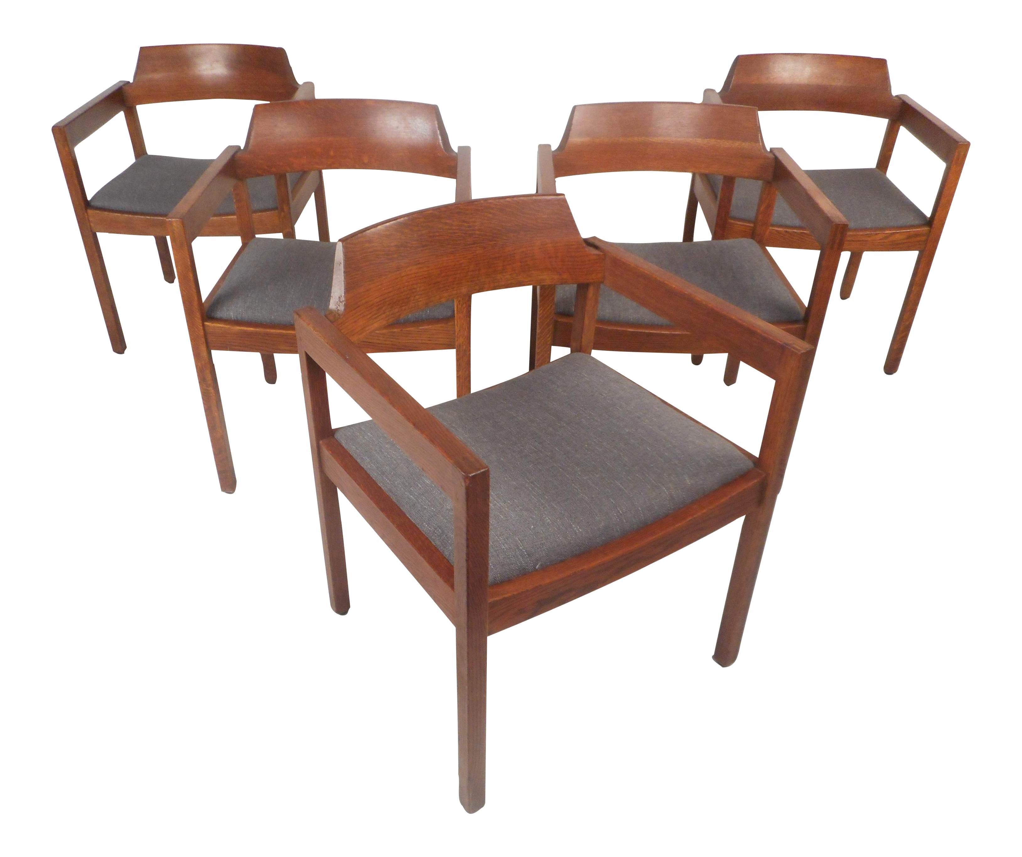 Set Of Five Mid Century Modern Walnut Dining Chairs By Gunlocke Chair  Company