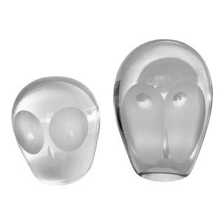 Crystal Set of Modernist Owls