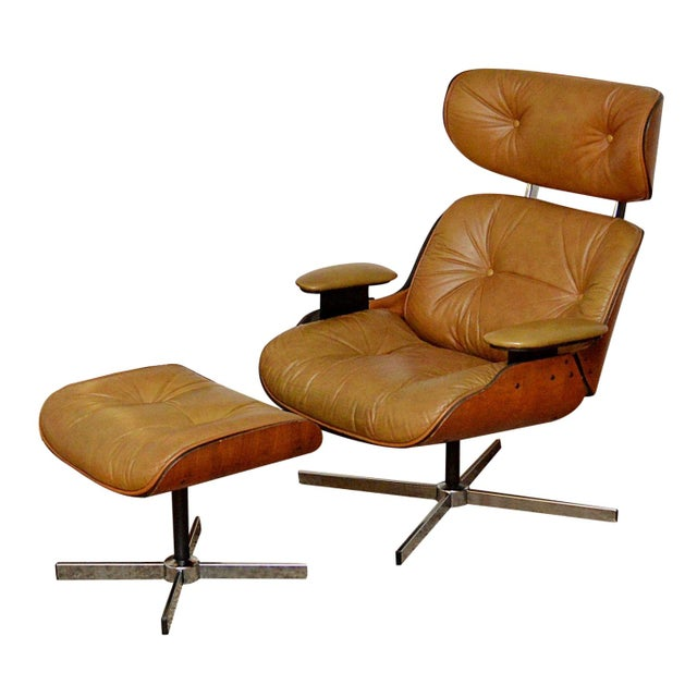 Selig eames style lounge chair ottoman chairish - Selig eames chair ...