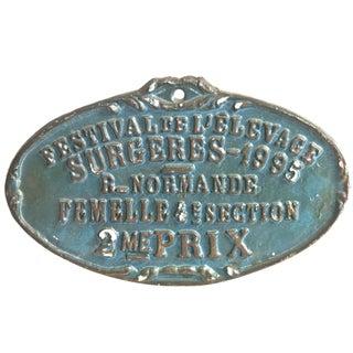 Vintage French Cast Aluminum Award Plaque