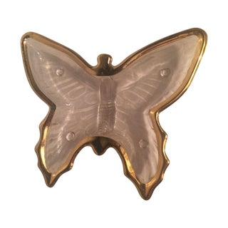 Butterfly Glass & Gold Dish