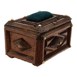Antique French Tramp Art Sewing Box with Raised Velvet Green Pin Cushion