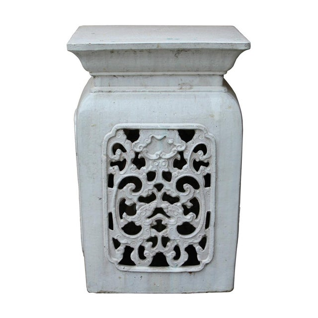 Chinese Off White Ceramic Square Dragon Garden Stool - Image 1 of 7