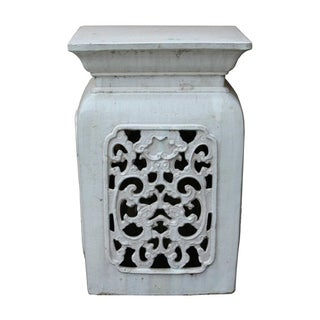 Chinese Off White Ceramic Square Dragon Garden Stool