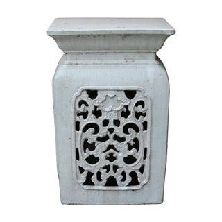 Chinese Off White Ceramic Square Dragon Garden Stool