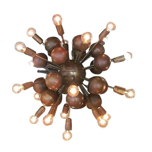 Vintage Brass Sputnik 20 Light Chandelier - Image 1 of 8