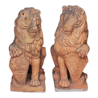 Late 19th Century Italian Terra Cotta Seated Lions - Pair