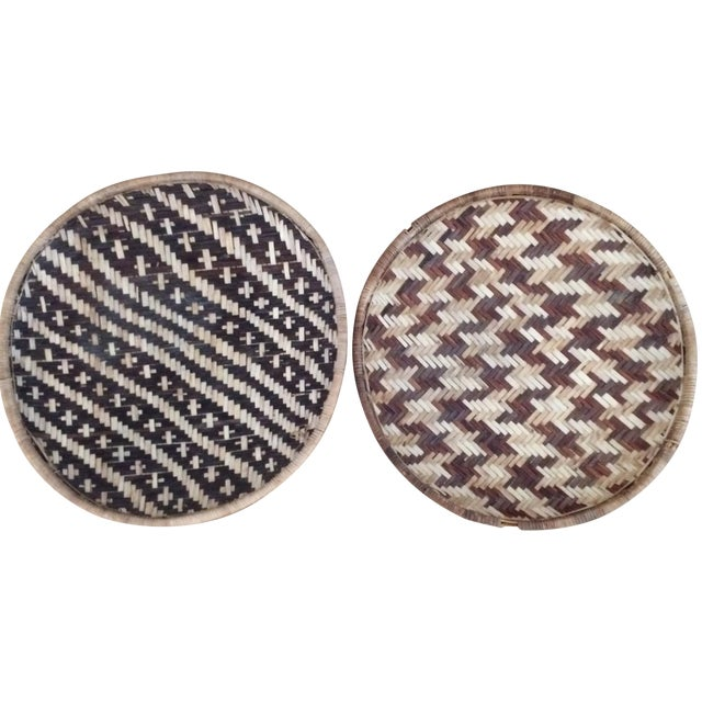 Woven Ethnic Baskets - A Pair - Image 1 of 5
