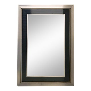 Vintage Chrome and Black Wood Beveled Mirror