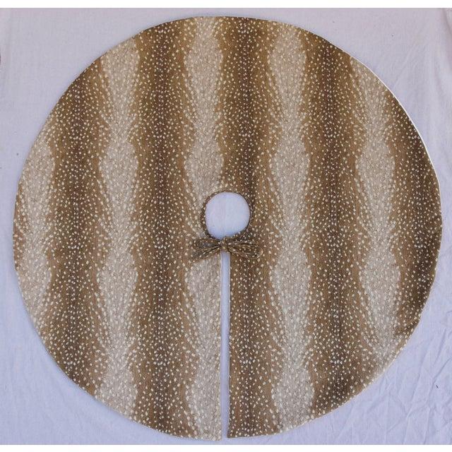 """X-Large 55"""" Custom Tailored Deer Fawn Velvety Chenille Christmas Tree Skirt - Image 2 of 9"""