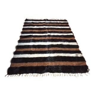 Vintage Striped Fur Rug or Throw - 6' x 4'