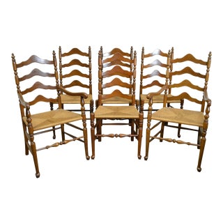 Ethan Allen Vintage Set of 6 Solid Cherry Rush Seat Ladder Back Dining Chairs