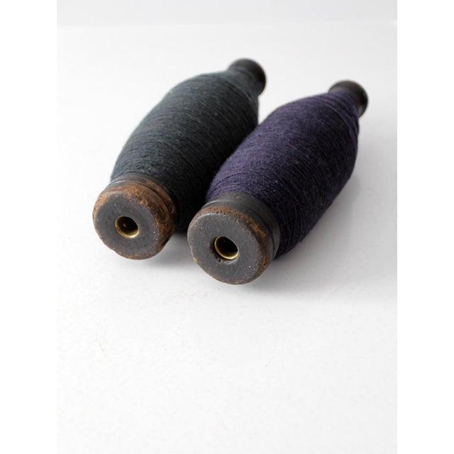Image of Antique Wooden Spools With Thread - a Pair