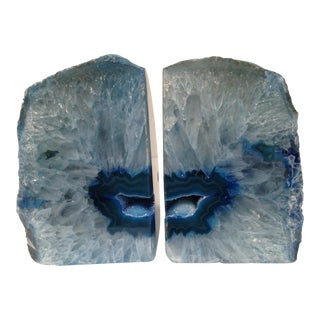 Blue Quartz & Agate Book Ends - a Pair