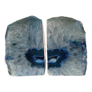 Blue Quartz & Agate Book Ends - a Pair