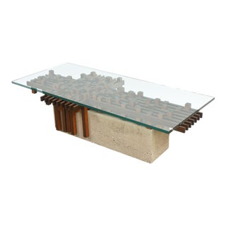 Italian Walnut and Concrete Glass Low Table Attributed to Giovanni Michelucci
