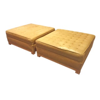 Space M Tufted Leather Ottomans- A Pair