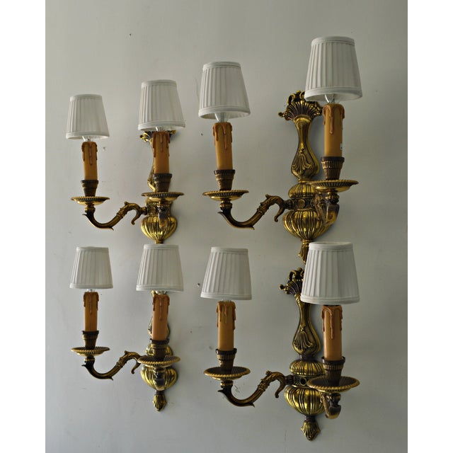 French Boudoir Sconces - Set of 4 - Image 4 of 8