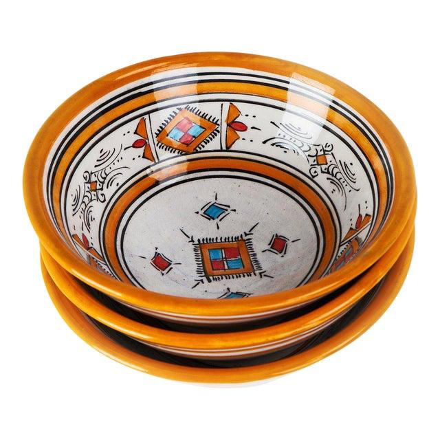 Handcrafted Orange Ceramic Bowls - Set of 3 - Image 1 of 4