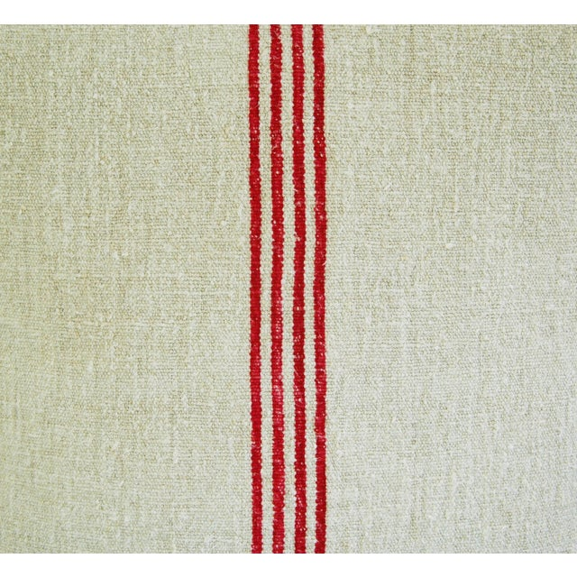 French Red Stripe Grain Sack Pillows - Pair - Image 7 of 9