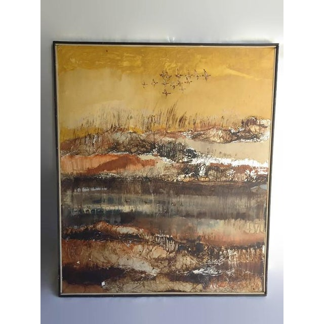 Large Vintage Abstract Woodland Canvas Art - Image 5 of 7