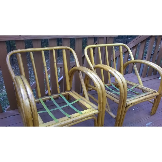 Vintage Bamboo Bentwood Rattan Chairs - A Pair - Image 5 of 10