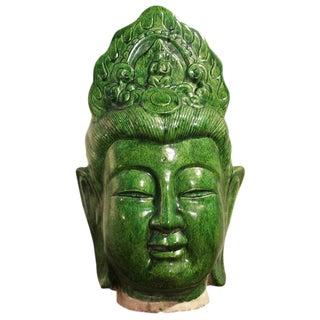 Ceramic Green Guan Yin Head