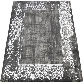 "Gray and White Bordered Rug - 5'3"" x 7'7"""