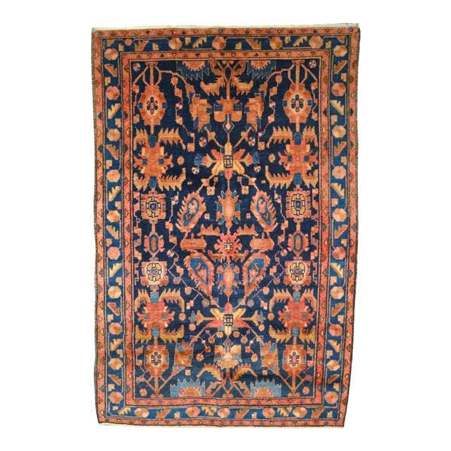 "Navy & Peach Antique Persian Rug - 4'4"" x 6'8"" - Image 1 of 6"