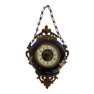 Antique French Napoleon III Bronze & Tole Boulangere Clock