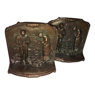 Old Farmers Pray Bronze Bookends - a Pair