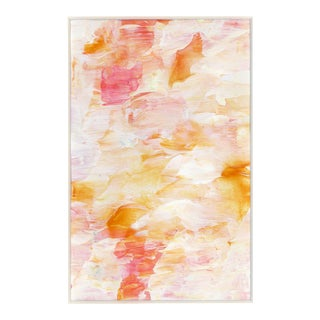 Original Frothee Modern Abstract Peach, Yellow & White Matted Impasto Acrylic Painting