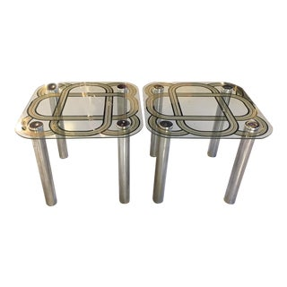 Mid Century Graphic Top Glass &Chrome Side Tables - a Pair