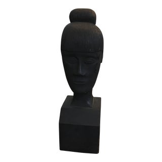 1920s Carved Wood Female Bust Sculpture