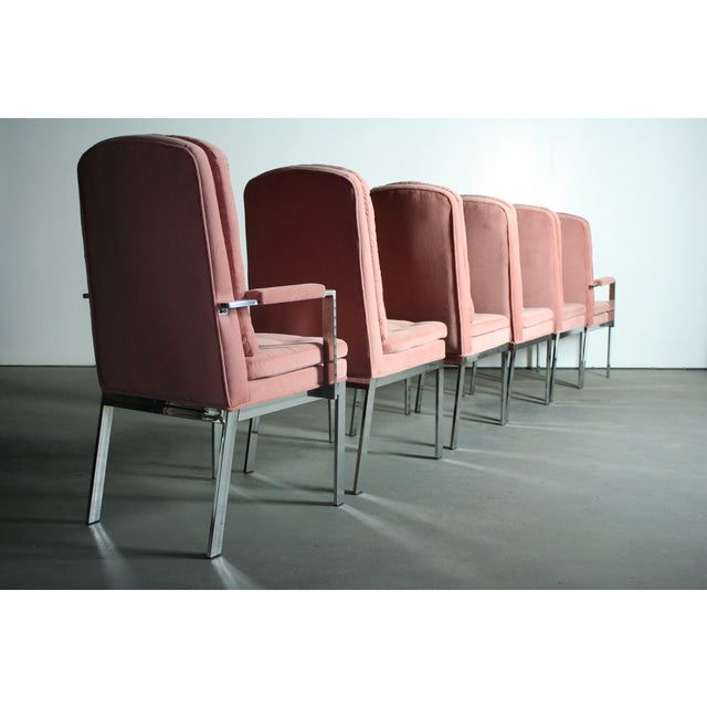 Milo Baughman for DIA Blush Dining Chairs - S/6 - Image 4 of 12