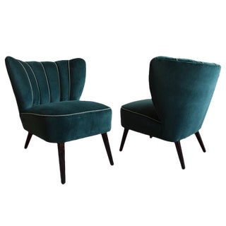 Mid-Century Green Velvet Cocktail Chairs - A Pair