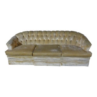 Mid-Century Modern Off White Velvet Tufted Sofa Couch by Sears