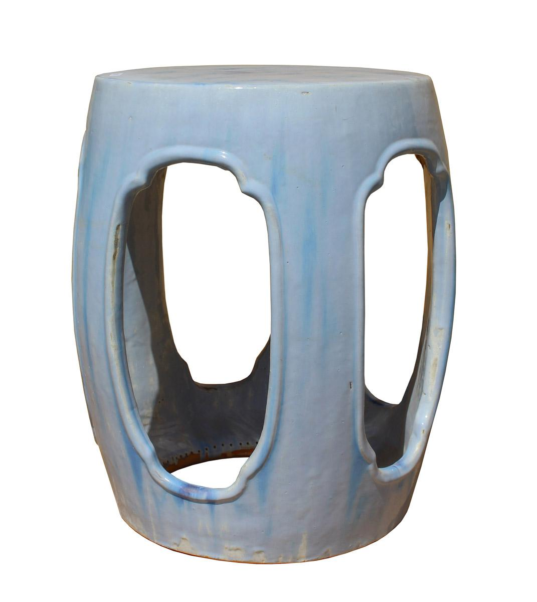 Chinese Round Barrel Light Blue Ceramic Clay Garden Stool   Image 4 Of 7