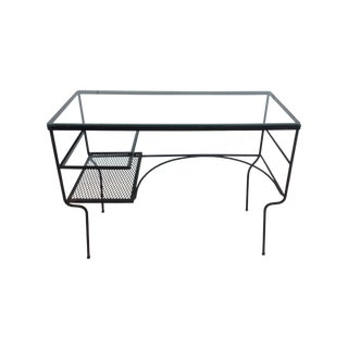 1960s Modernist Iron Desk with Glass Top