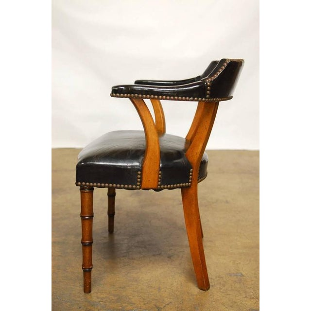 Barnard & Simonds Leather Library Chairs - Set of 4 - Image 5 of 10