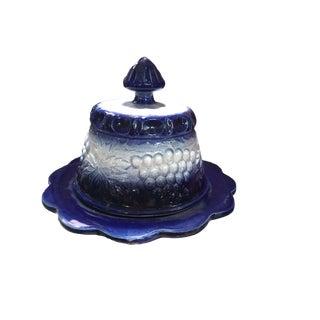 Cobalt Blue & White Salt Glazed Butter Dish