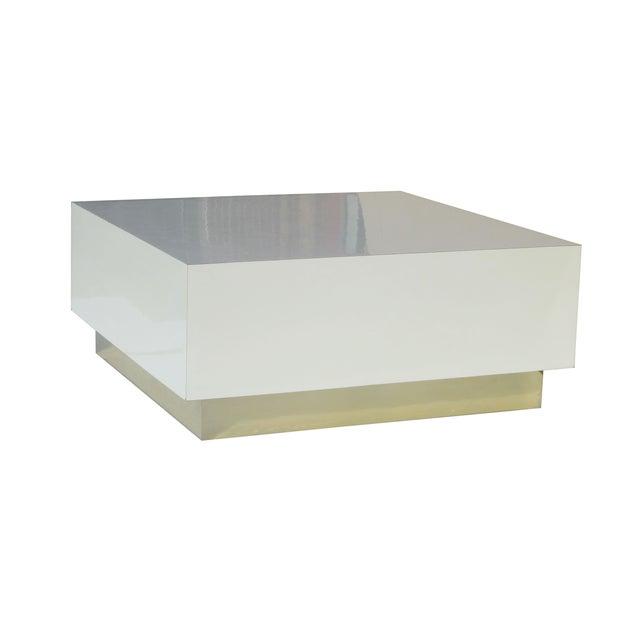 Square White Laminate Coffee Table On Brass Plinth Chairish