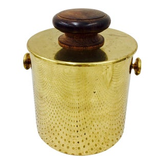 Vintage Italian Brass & Wood Ice Bucket