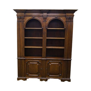 Large Italian Walnut Architectural Bookcase w/ Corinthian Columns