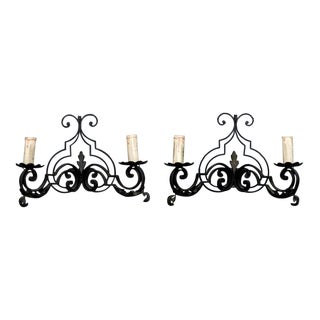French Scrolled Black Iron Two Light Sconces - A Pair