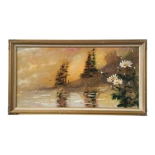 "Large Vintage Framed ""Daybreak"" Painting, French Provincial"