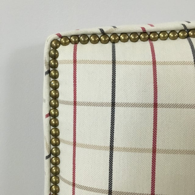 Plaid Nailhead Trim Queen Headboard - Image 4 of 8
