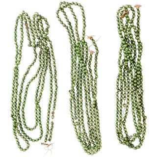 Green Chartreuse Mercury Glass Garland - Set of 3